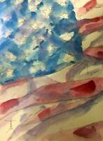 ORIGINAL Freedom flag Watercolor painting