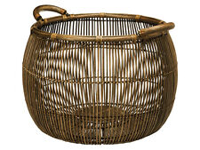 Large Open Weave Rattan and Wicker Storage Basket, Dia 21 x 18 inch, Brown