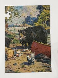 Vintage TUCO Strong Interference Jigsaw Picture Puzzle Fishing Bear Bacon Skunk
