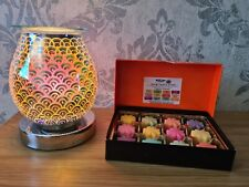 Electric Aroma Lamp Wax Melt Warmer Silver Touch Sensitive & Soy Gift Set
