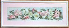 1890*Victorian*Pink Roses Yardlong*Chromo/Print*Annie Nowell*Prang Litho*Framed