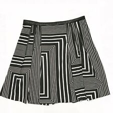 Calvin Klein Women's Fit Flare Abstract Skirt 6 Black White Faux Leather Detail