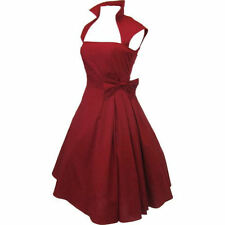 3X 22 24 RETRO ROCKABILLY COUTURE CHERRY RED PINUP VTG 60s PARTY BOW SWING DRESS