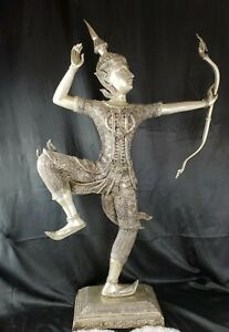 "Huge 40"" X 23"" Vintage Thai Statue ""Rama the Archer"" ornately Detailed on base"