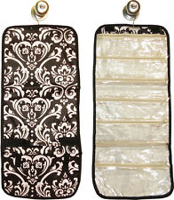 Hanging Travel Jewelry Roll (damask w/black trim) great for travel or home!