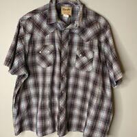 Wrangler Mens Western Cowboy Shirt Purple Blue Plaid Pearl Snap Short Sleeve XL