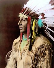 "WHITE SHIELD ARIKARA NATIVE AMERICAN INDIAN 1908 8X10"" HAND COLOR TINTED PHOTO"