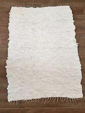 "48 x 35"" Vintage handmade cotton throw rug white nubby woven artist"
