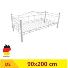 Tagesbett Einzelbett 90x200 cm Metallbett Metall Bett Bettgestell Sofa weiß G1S4