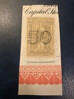 RARE US SCOTT #R189 $50 USED ON PAPER WITH INCREDIBLE EMBOSSED CANCEL $575