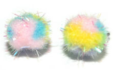 MULTI COLORED POM POM EASTER SPRING STUD EARRINGS (H122)