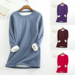 Women Winter Thick Fleece Loose Sweatshirt Lady Velvet Warm O-Neck Blouse Tops