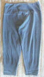 Suave Women's Blue/White Striped Capri Leggings With Tummy Control ~M~ RN 103429