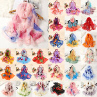 Women Flower Print Long Soft Wrap Scarf Simulation Silk Shawl Scarves LIU
