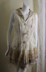 Kali Basi Fiber Art Hand-Made OOAK Romantic Boiled Wool Vest Coat Jacket XS S M
