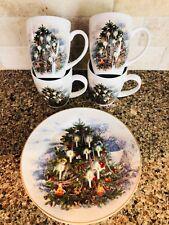 Pottery Barn NOSTALGIC TREE Salad Dessert Plates Mugs 8 Pc Set NIB Christmas Cup