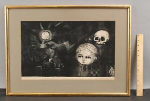 Vintage Leticia Tarrago Mid-Century Modernist Mexican Surreal Etching w/ Skull