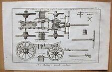 Unterbau einer Kanone - Militaria - Art Militaire Kupferstich (Diderot) um 1750