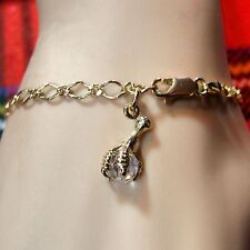 9 ct GOLD second hand fancy link ankle bracelet with crystal claw