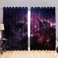 """Galaxy 52"""" x 54"""" Blackout Fabric 3D Printed Curtain Eyelet Ring Top Window"""
