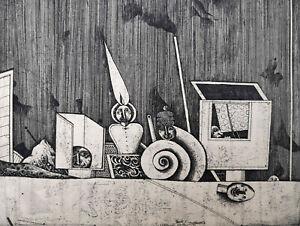 """Christoph Meckel (1935 - 2020)  """"Surreales Stilleben""""  Radierung"""