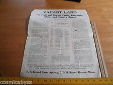 1914 Vacant Land for farming map New Hampshire Maine Vermont Farm Agency
