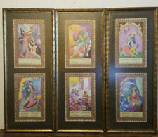 Antique Mughal Indo Persian Gilt Gold Illuminated Silk Painting Set Of 6