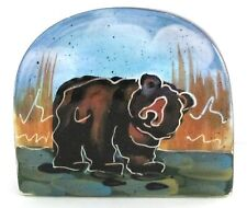 Julie Ueland BEAR Napkin Holder NEW 2002 Painted Ceramic Taco Holder Enesco