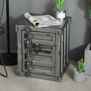 CGC Grey Industrial Shipping Container Table Storage Shelf Unit Vintage Bedside