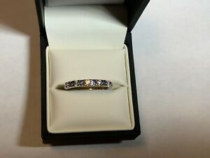 Moissanite  Fire And  Tanzanite band ring,.36 TCW sterling silver,size 9