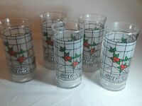 """5 - Vintage Christmas Coca Cola White Frosted Red Berries/Holly 6"""" Glass"""