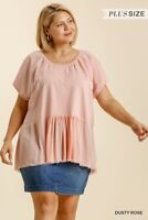 Umgee French Terry Knit Frayed Hem Pink Top Plus Size XL 1X