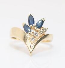 14K Yellow Gold .50 Total Carat Weight Sapphire & Diamond Ring 1/2 Ct.