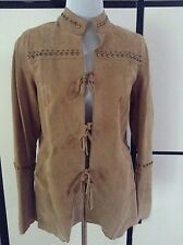 NWT CHI by  Falchi Natural Suede Leather Jacket Coat Studs Lined Fun & Funky! Md