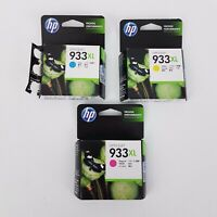 3 x HP Officejet 933XL Ink Cartridge Magenta Yellow Cyan 825 pages Out of Date