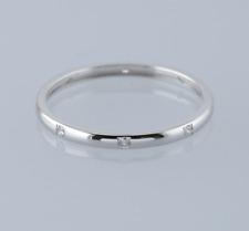 0.08 Carat Diamond Band Ring Size O 18ct White Gold