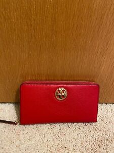 NWT Tory Burch Gold/Bright Carnelian Red Carson Zip Leather Continental Wallet