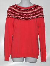 Caribbean Joe Petite Long Sleeve Fair Isles Pullover Sweater Melon Frost PM NWT