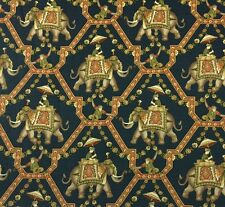 P KAUFMANN INDIA ELEPHANT NAVY BLUE D3014 MONKEY FLORAL TRELLIS FABRIC BY YARD