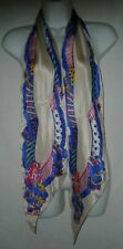 Liz Claiborne Designer Scarf 1993 Long Silk  70 x 8 Rolled Edge Ladies Signed