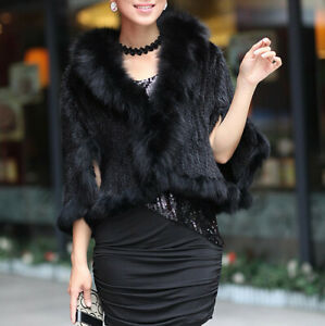Handmade Knitted Real Mink Fur Coat With Fox Fur collar Cape Poncho -Black