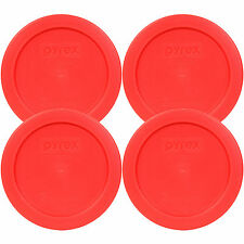 """Pyrex 7200-PC Round 2 Cup 5"""" Storage Lid Cover Red 4 Pack for Glass Bowl New"""