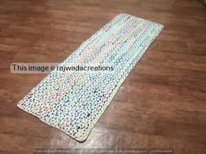 Hand Braided White Cotton Runner Rag Rug