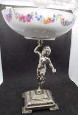 German Cherub Pedestal Porcelain & Pewter Candy Dish