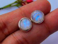 Rainbow Moonstone Omega Stud Earrings Silver Studs Genuine 925 Sterling Silver