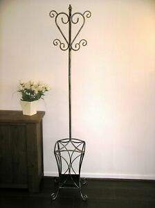 New Wrought Iron Coat Hat & Umbrella Stand, Brushed Silver Gold Metal Coatstand