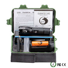 10000LM X800 Flashlight LED Zoom Militray Torch + Battery + Charger + Case