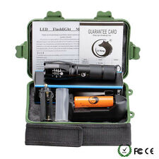 10000LM X800 Flashlight XML T6 LED Zoom Militray Torch+Battery+Charger+Case