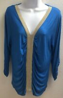 Blouse Top large l womens blue gold stretch casual august silk long sleeves