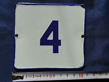 VINTAGE Enameled Porcelain Tin Sign House-Door Number 4 -4.33 in/3.9 in BD